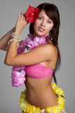 Hula Dancer. Beautiful tropical hula dancer girl royalty free stock images