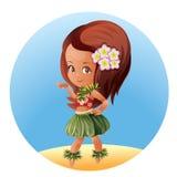 Hula dancer Hawaiian cartoon character Royalty Free Stock Photos