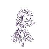 Hula dancer Hawaiian cartoon character Stock Images