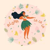 Hula dancer hawaiian girl illustration. Luau fest. Hula dancer girl. Hawaiian plus size woman in traditional costume is dancing. Grreting card or poster with Royalty Free Stock Photography