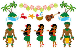 Hula Dancer and Hawaiian image set Stock Photo