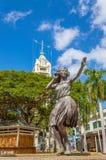 Hula Dancer Statue. Fronting the historic Hawaii landmark, Aloha Tower Stock Photos