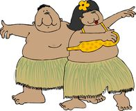 Hula dancers. This illustration depicts two chubby hula dancers in grass skirts Royalty Free Stock Images