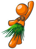 Hula dancing orange girl Stock Image