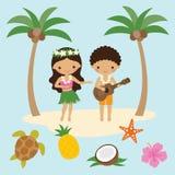 Hula dansare Girl och ukulelepojke i Hawaii stock illustrationer
