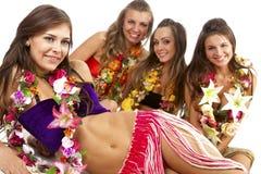 hula för dansareflickahawaiibo Arkivbild