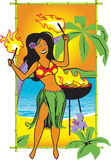 Hula Fire Girl. Cartoon of a hula girl with torches Royalty Free Stock Images