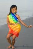 Hula girl in colorful sarong Royalty Free Stock Images
