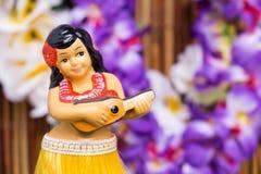 Hula Girl Doll. Tropical setting for a Hula girl doll stock photography