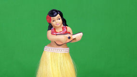 Hula Girl Doll Against Green Screen Stock Image