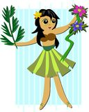 Hula Girl with Plants Royalty Free Stock Image