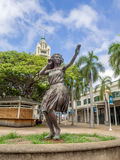 Hula girl statue at Aloha Tower Marketplace Royalty Free Stock Photos