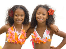 Hula girl twins. Identical twin sisters dressed up as hula girls Stock Photography