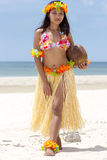 Hula Hawaii dancer with coconut stock photos