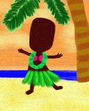 Hula Hawaii Dancer Dance Oil Painting Canvas Stock Photo