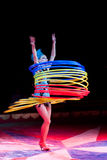 Hula-hoop dancer. stock image