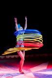 Hula-hoop dancer. Hula-hoop dancer in action. Circo di Madrid. In Ä°stanbul performance stock image