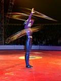 Hula-hoop dancer. In action. Circo di Avrasya. In denizli performance Royalty Free Stock Photography