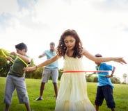 Hula Hoop Enjoying Cheerful Outdoors Leisure Concept royalty free stock photos