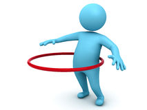 Hula hoop exercise. 3d man doing Hula hoop exercise isolated on white background with shadow vector illustration