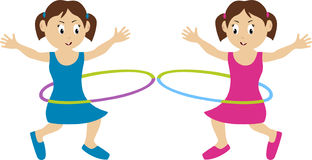 Hula Hoop Twins. Illustration of twins doing hula hoop. Concept for children and kids Royalty Free Stock Photo