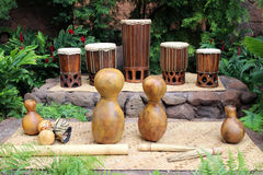 Hula instruments. Hawaiian musical instruments used for hula royalty free stock images