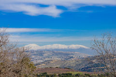 Hula Valley and the Hermon mountain range Stock Photos