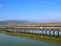 Hula Valley Nature Reserve. The floating bridge over the swamp where visitors can observe the birds Stock Images