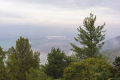 Hula Valley Vista from the Upper Galilee royalty free stock photo