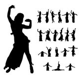 Hula woman dancers silhouette on white Royalty Free Stock Image