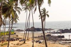 Hulajnoga rowery turyści parkujący na szerokim oceanie wyrzucać na brzeg z drzewkami palmowymi wokoło Zdjęcia Stock