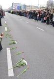 Hulde aan slachtoffers van de vliegtuigneerstorting Stock Foto's