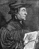 Huldrych o Ulrich/Ulricht Zwingli stock de ilustración