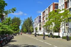 Hulhumale Biulding's -马尔代夫的最大的人工岛, 库存图片