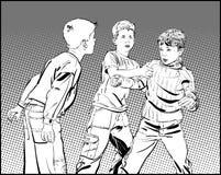 Huliganpojkar Tonåriga pojkar i nävekamp Stridighetpojkar stock illustrationer