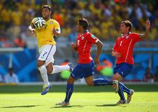 Hulk , Arturo Vidal and Eugenio Mena Coupe du Monde 2014 Royalty Free Stock Photo