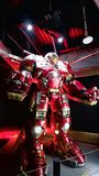 Hulk Buster Iron Man costume. LAS VEGAS, NV, USA - Oct 09, 2017: Hulk Buster Iron Man costume at the Tony Stark base at the Avengers experience in Treasure Royalty Free Stock Photography