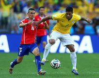 Hulk and Mauricio Isla Coupe du monde 2014 Royalty Free Stock Photos