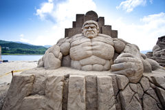 Hulk sand sculpture Stock Photos