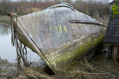 Dilapidated hull of abandoned boat Royalty Free Stock Image