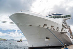 Hull of Cruise Ship with Ropes Stock Photography