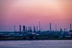 Hull , England - May 04 2018 : Passing by the industrial skyline close to Hull - United Kingdom.  stock image