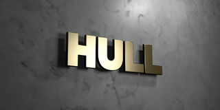 Hull - Gold sign mounted on glossy marble wall  - 3D rendered royalty free stock illustration Royalty Free Stock Photo
