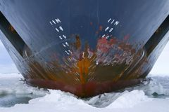 Hull of an icebreaker. Parked in the ice on Antarctica Royalty Free Stock Photos