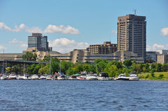 Hull Marina and View of the City of Gatineau Royalty Free Stock Images