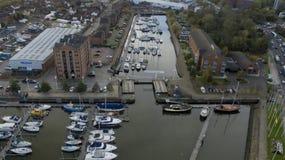 Hull o porto, doca Kingston de Humber em cima da casca fotografia de stock