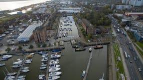 Hull o porto, doca Kingston de Humber em cima da casca imagem de stock