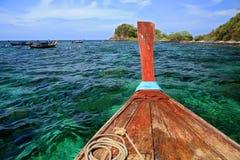 Hull of Wooden boat at snorkel diving spot at Koh Lipe Royalty Free Stock Image