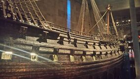 Hull of wooden ship in museum Royalty Free Stock Images