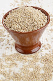 Hulled pearl barley in a bowl Royalty Free Stock Photos